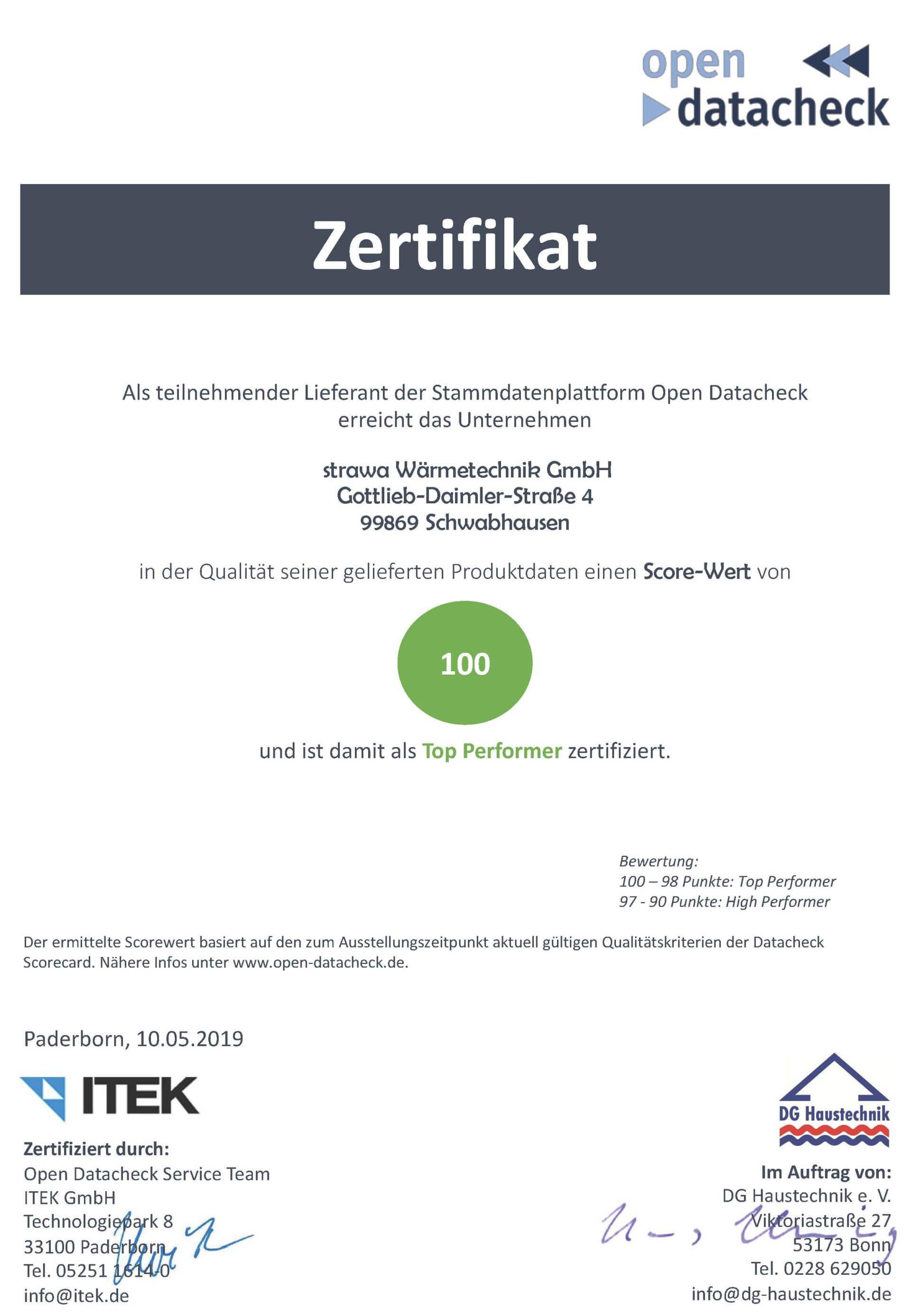 Datacheck Zertifikat strawa Wärmetechnik GmbH