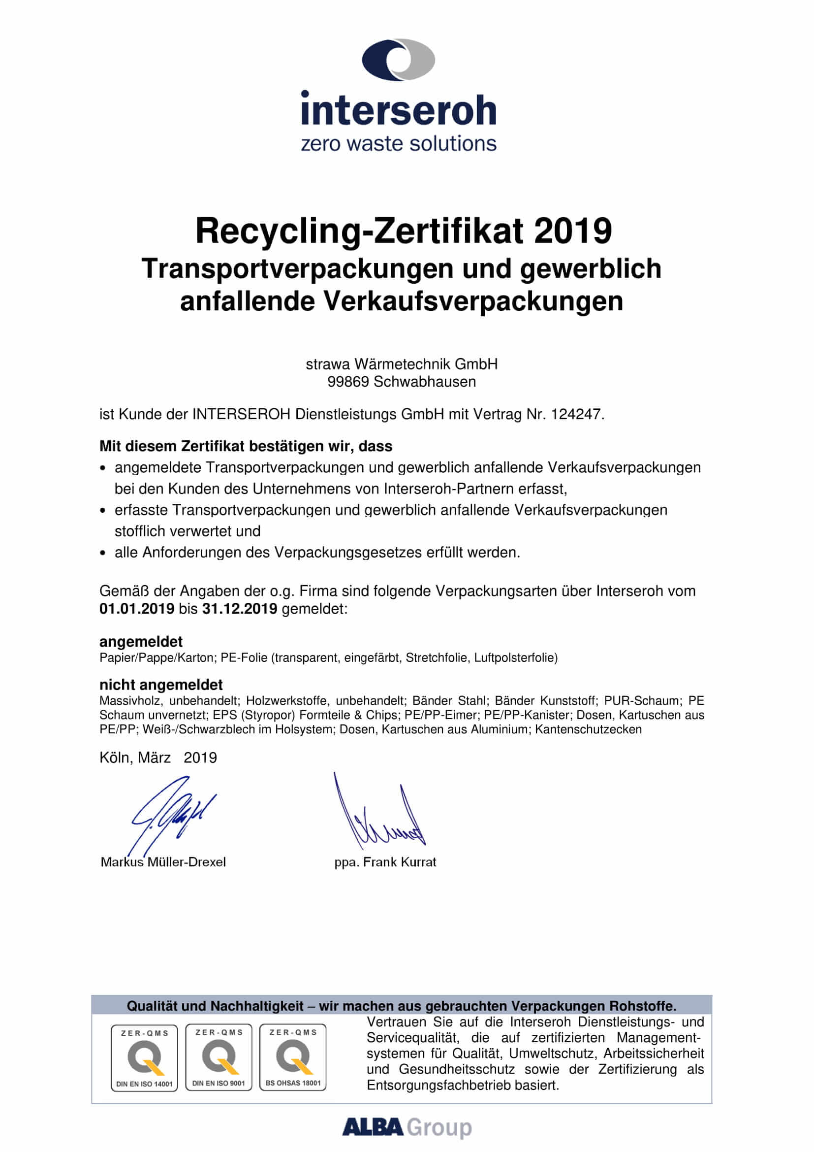 Recycling Zertifikat 2019