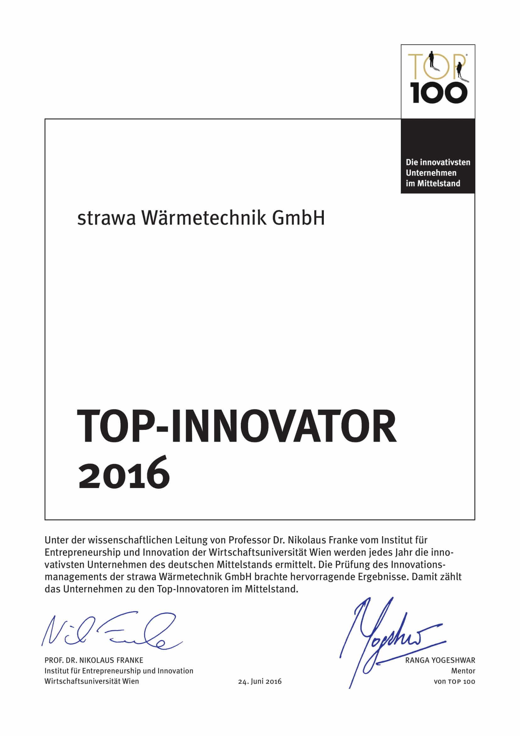 Urkunde strawa Top Innovator